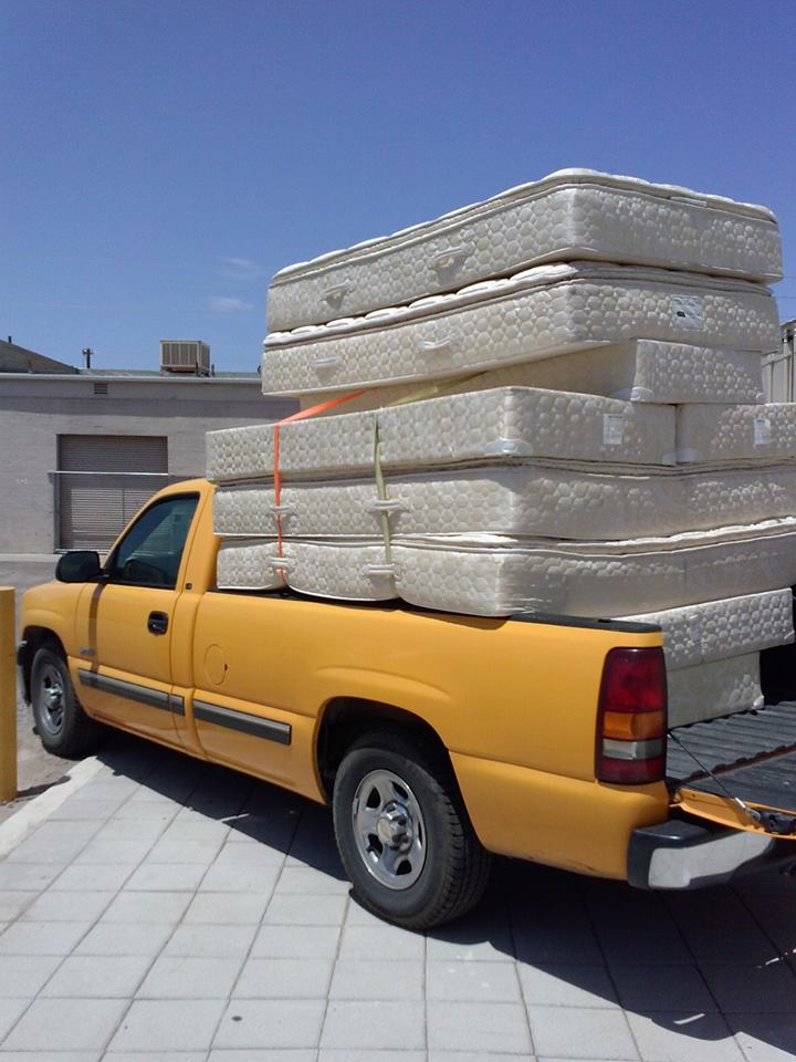 Loaded truck with beds